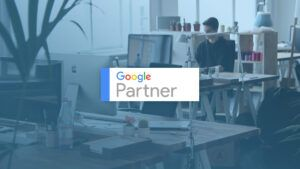 Google Partner logo over working environment background